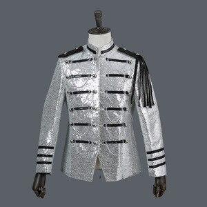 Image 3 - Shiny Sequin Blazer Men Cool Glitter Military Dress Tuxedo Men Blazer Suit Jacket Nightclub Stage Show Cosplay Blazer Masculino