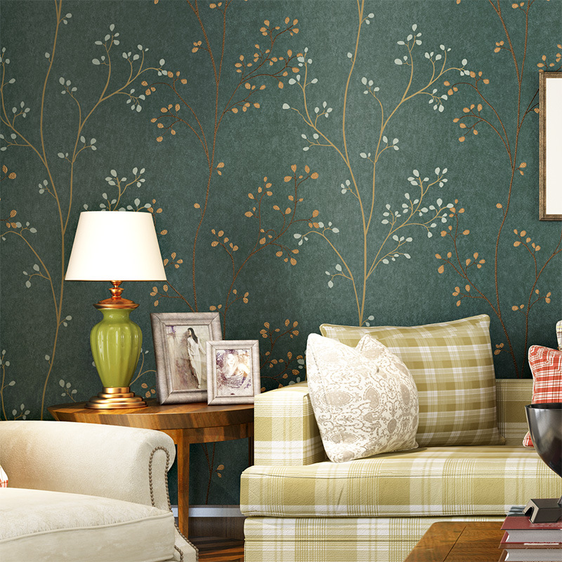 American Vintage Pastoral Style Dark Green Leaf Non-woven Wallpaper Bedroom Living Room Television Background Wall Branch Wallpa
