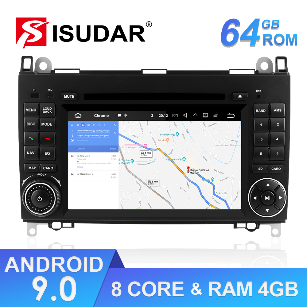9 Isudar 2 Reprodutor multimídia Carro din Android Sistema De Som Para Mercedes/Benz/Sprinter/W169/B200 /B-classe Carro DVD GPS Rádio FM DSP