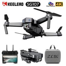 SG107 Mini Drone 4K FPV WIFI pojedyncza kamera drone profissional podwójny aparat optyczny przepływ modułowy akumulator zdalnie sterowany Quadcopter VS E58 dron tanie tanio KEELEAD 1080 p hd video recording 720 p hd video recording Kamera w zestawie Brak 150M 6 axis gyro 4 kanałów 2 4Ghz App kontroler