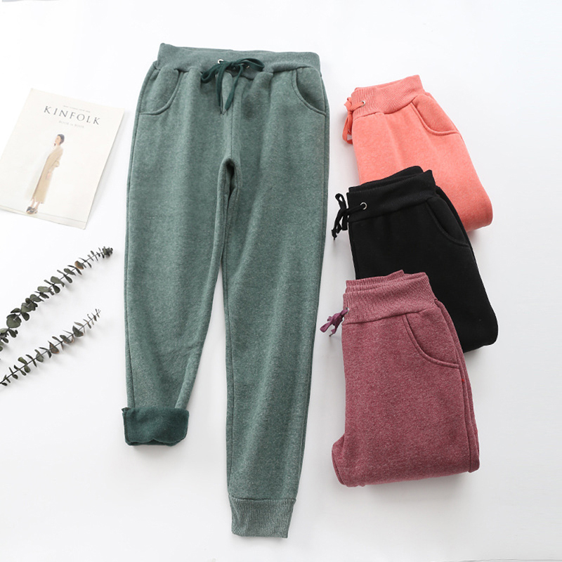 2020 Spring Sports Pants Women Streetwear Casual Plus Velvet Warm Soft Sweatpants Solid Drawstring Elastic Waist Joggers Women