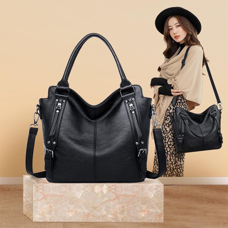 Bags Women Genuine Leather 2020 Black Tote Bag Women Messenger Bag Female Big Crossbody Genuine Leather
