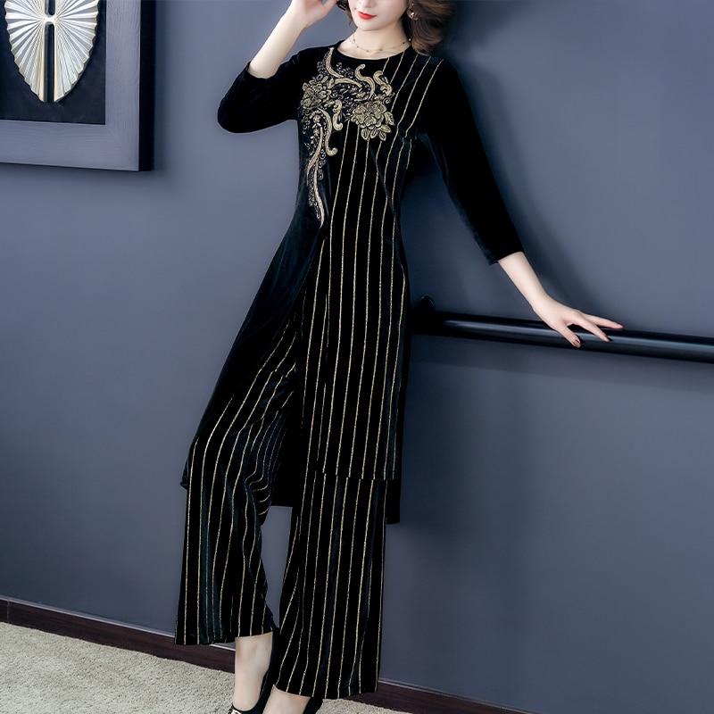Velvet Vintage Striped Two Piece Sets Outfits Women Plus Size Floral Patchwork Long Tops And Wide Leg Pants Suits Elegant Sets 25
