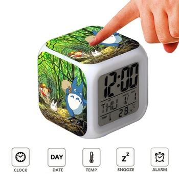 Cute Totoro Timer  Alarm Clock Kids Desk Night Light Wake Up With LED Light Kid Gift