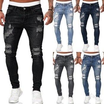 2020 Big Sale Men's Sweatpants Sexy Hole Jeans Pants Casual Summer Autumn Male Ripped Skinny Trousers Slim Biker Outwears Pants 1