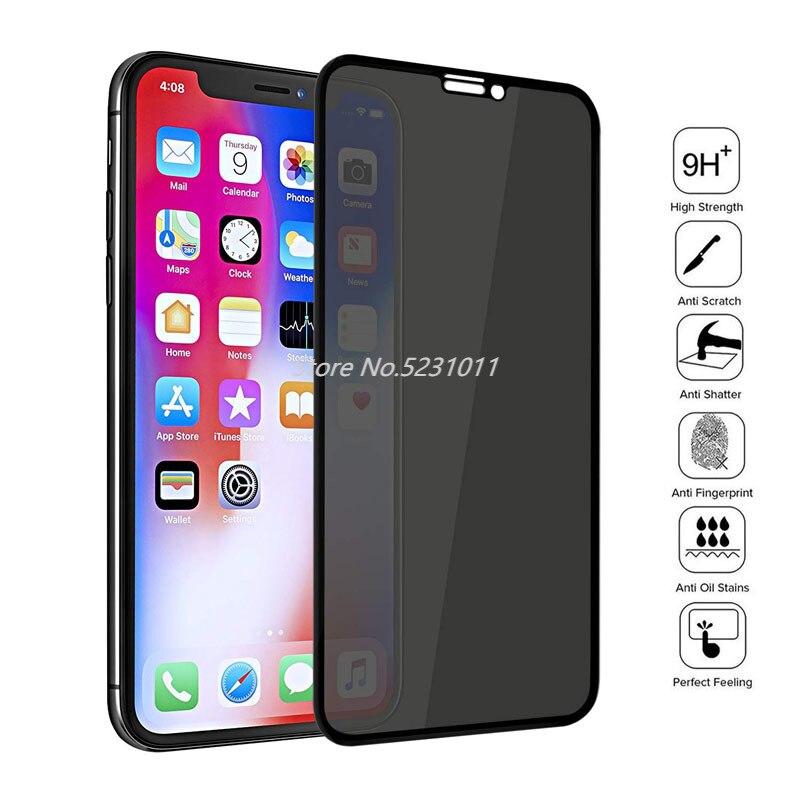 9H полное покрытие, Защитное стекло для экрана для iPhone X XS MAX XR, антишпионское закаленное стекло для iPhone 11 6 7 8 Plus, защитная пленка