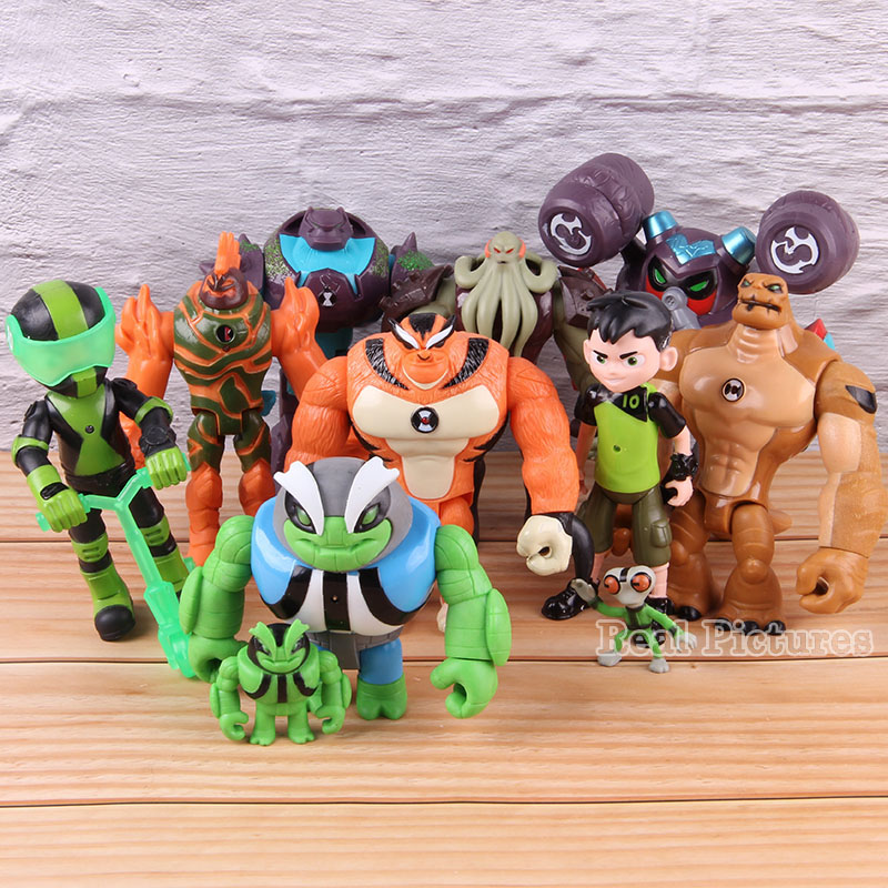11pcs/set Ben Tennyson PVC Collectible Action Figure Ben 10 Anime Model Toy Heatblast Vilgax Rath Grey Matter With LED Light