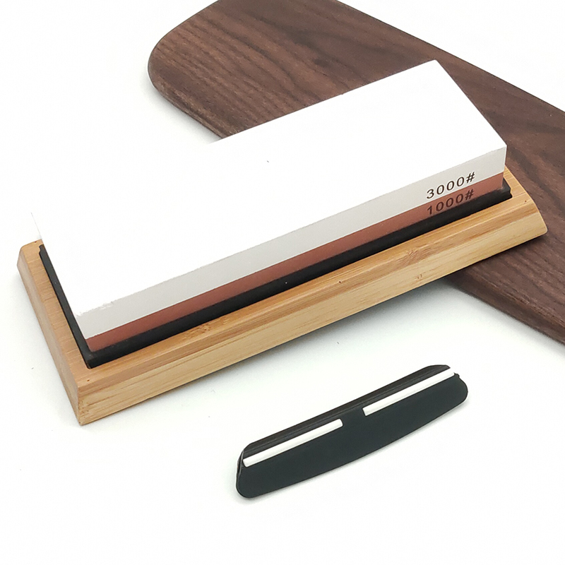 Double-sided <font><b>whetstone</b></font> <font><b>1000/3000</b></font> grit With bamboo base and angle guide set sharpening stone blade sharpener knife sharpener image