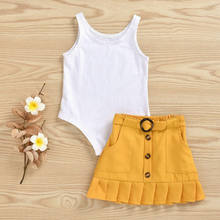 Emmababy 2PCS Toddler Kids Baby Girls Solid Vest Romper Ruffles Button Skirt Summer Fashion Outfit Set(China)
