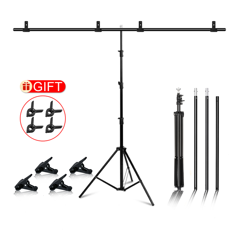 Photography Photo Backdrop Stands T-Shape Background Frame Support System Stands With Clamps for photo studio Multiple sizes(China)