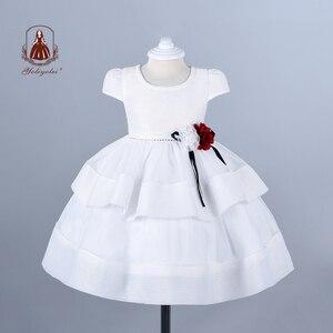 Платье для крещения Yoliyolei, белое, дышащее, вечернее, Двухслойное бальное платье для новорожденной принцессы на первый день рождения