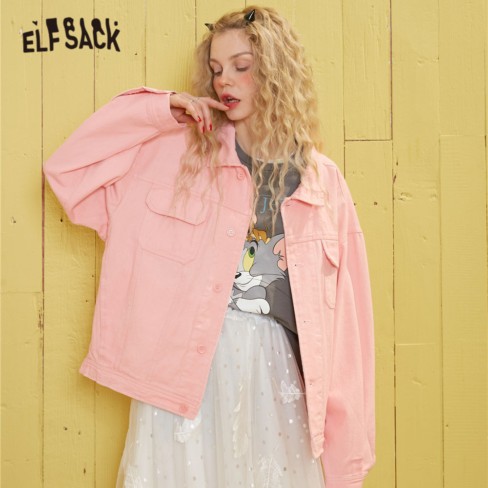 ELFSACK Pink Solid Single Breasted Korean Style Women Short Jacket 2020 Spring White Pure Pocket Loose Causal Ladies Outwears