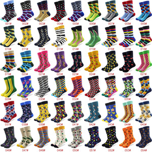 Image 2 - 100 Pairs/lot Wholesale Men Colorful Striped Cartoon Combed Cotton Socks High Quality Crew Wedding Casual Happy Funny Sock Crazy