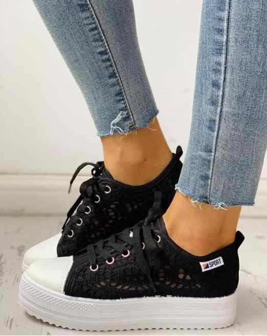 Giày Nữ 2020 Thời Trang Mùa Hè Cổ Trắng Giày Lỗ Cắt Ren Vải Rỗng Thoáng Khí Đế Flat Người Phụ Nữ Giày Thể Thao