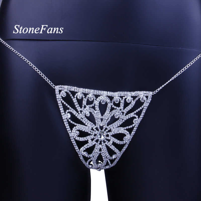 StoneFans Crystal Body Jewelry Waist Chain for Women Sexy Rhinestone Lingerie Flower Panties Thong Belly Chain Christmas Gift 4