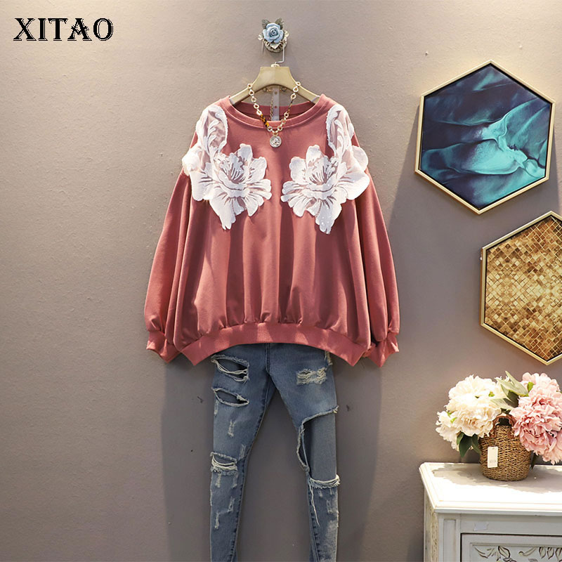 XITAO Patchwork Pullover Hoodie Women 2020 Autumn Casual Fashion Style Temperament All Match O Neck Full Sleeve Hoodie ZP3213 1