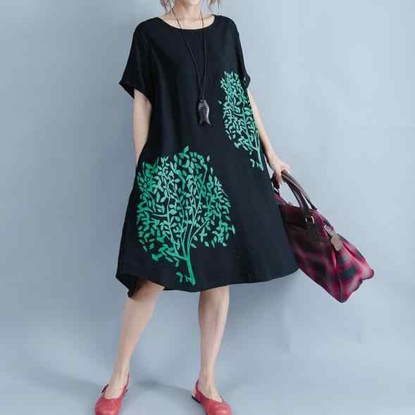 2019 Summer Gothic Color Print Loose Harajuku Dress Women New Simple Short Sleeve O-neck Korean Female Dresses Black AE786