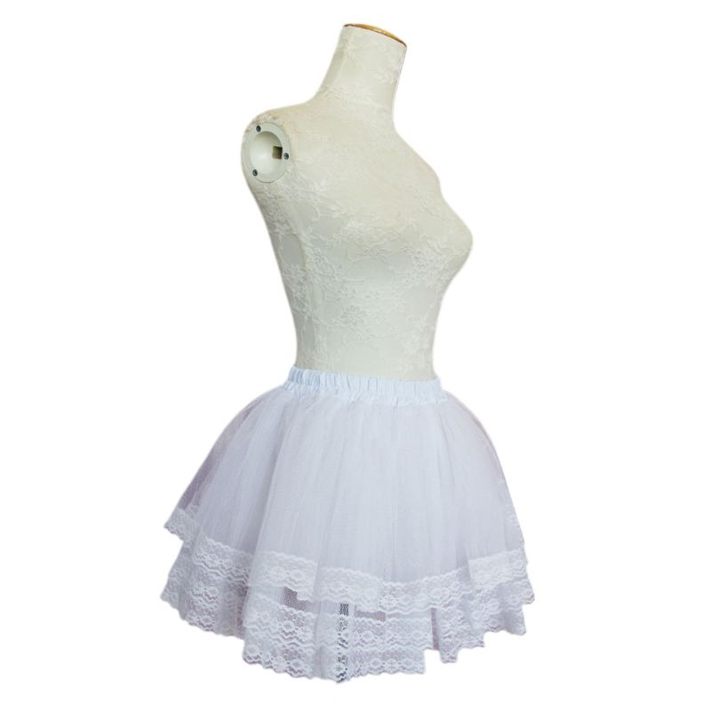 Girls Ballet Skirt Petticoats Cosplay Maid Wear Lolita Pettiskirt Short No Hoops Petticoat 3-layer Thick Petticoat
