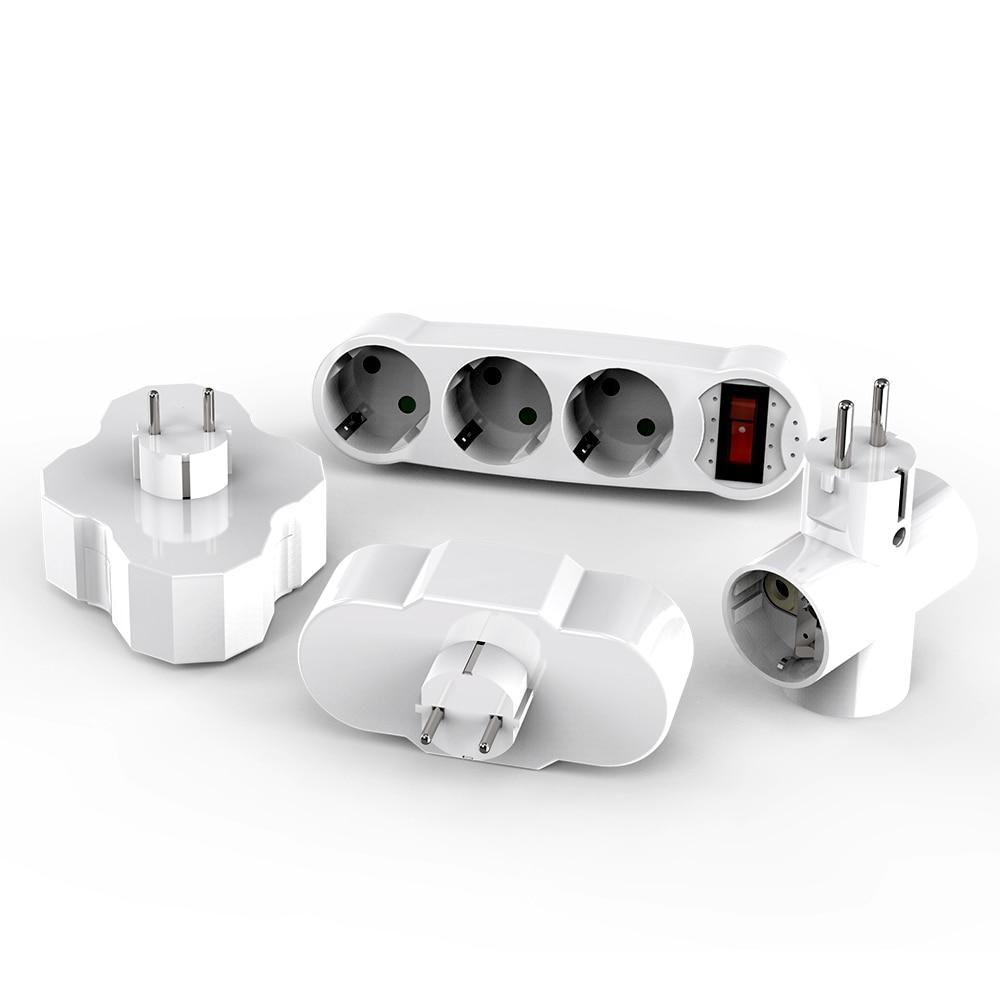 European Type Conversion Plug 1 TO 4 Way EU Standard Power Adapter Socket 16A Travel Plugs AC 110~250V ABS White 1turn3 Wireless