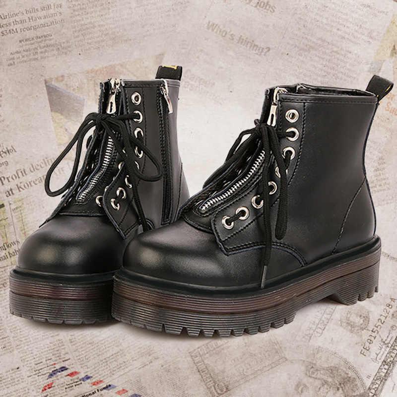 Platform çizmeler kovboy kadın ayakkabı deri yarım çizmeler kadınlar için çizme kış Punk kalın alt motosiklet botları hakiki Mujer kürk
