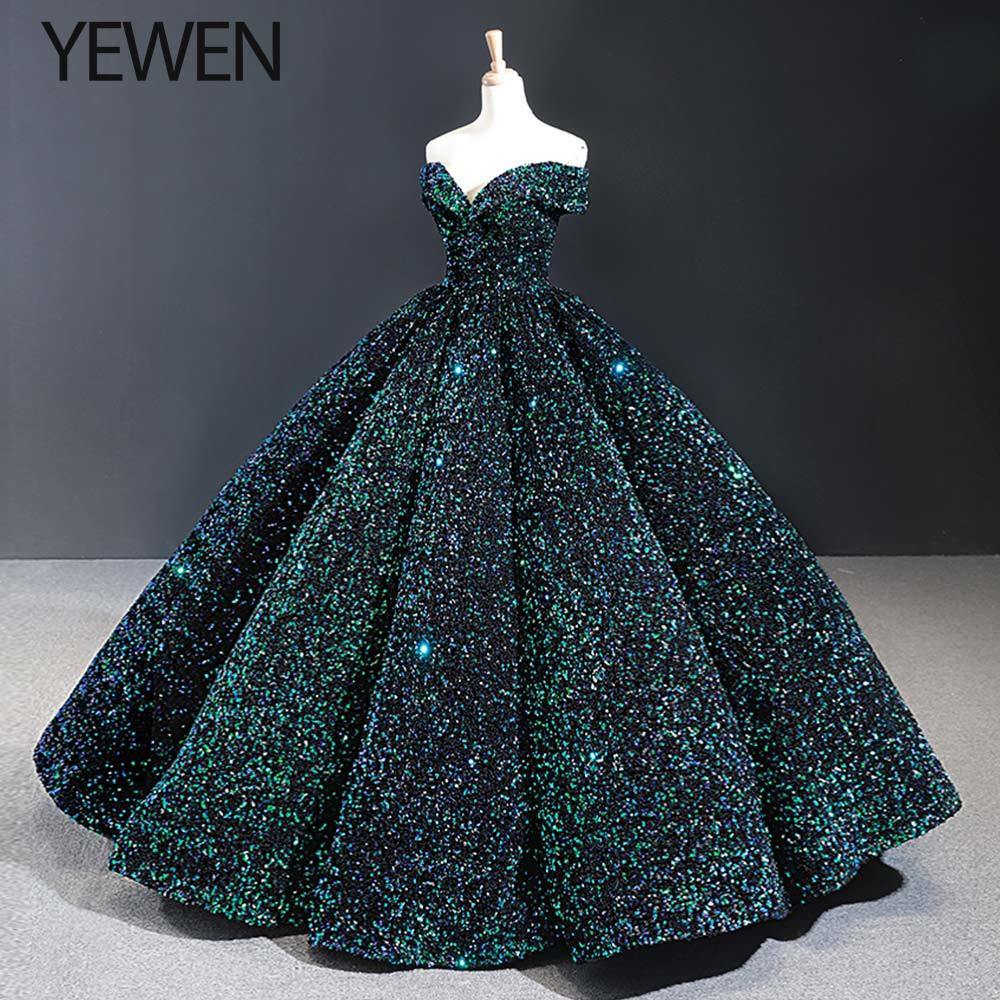 Green Sequined Evening Gown Evening Dresses 2019 Off The Shoulder V-Neck Formal Evening Dresse Long Vestidos De Fiesta YeWen