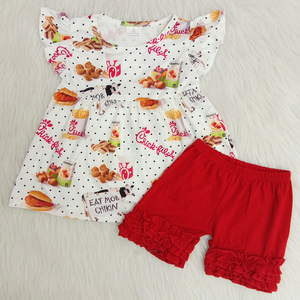 toddler girl shor sleeve outfit with food pattern baby girl chicken hamburger top match red icing ruffle shorts 2 pieces set(China)
