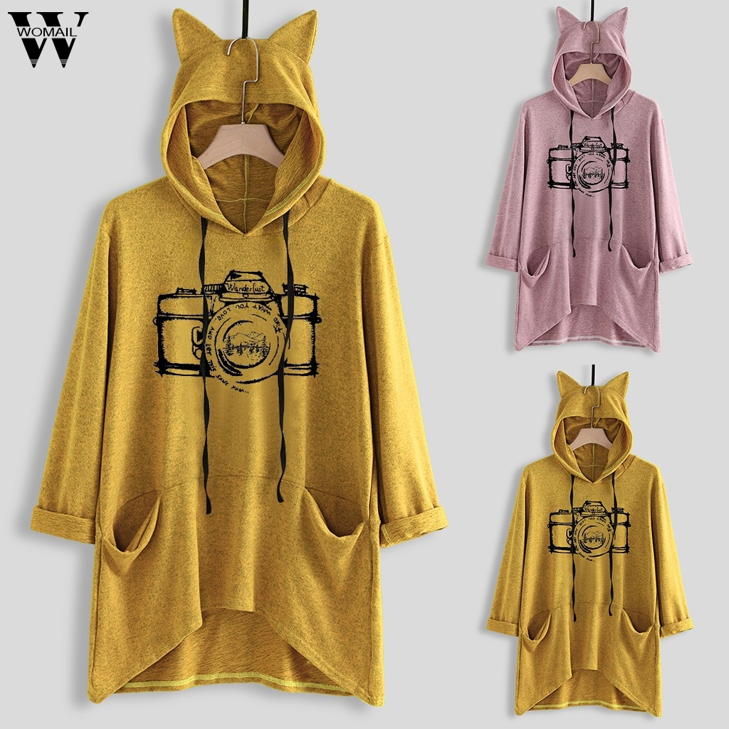 Womail Sweatshirts Women's Casual Kawaii Hooded Long Sleeves autumn Pocket Casual Print Cat Ear Plus Size Womens Sweatshirt M-L5