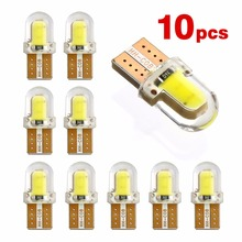 10pcs t10 led W5W T10 194 168 COB 8SMD Led Parking Bulb Auto Wedge Clearance Lamp CANBUS Silica Bright White License Light Bulbs 10pcs t10 w5w cob led canbus white yellow red super bright car light 194 168 38led parking bulbs backup reverse for brake lamps