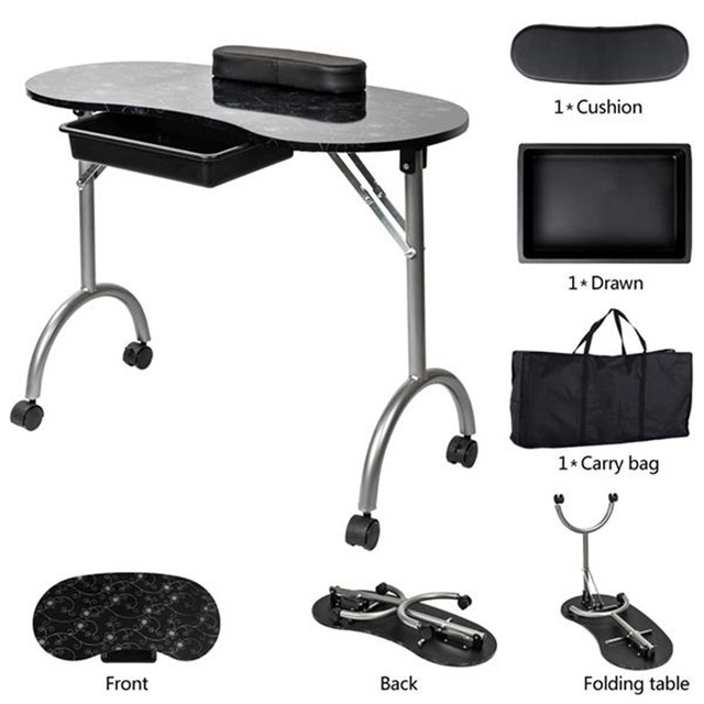 Portable MDF Manicure Table with Arm Rest & Drawer Salon Spa Nail Equipment White 5