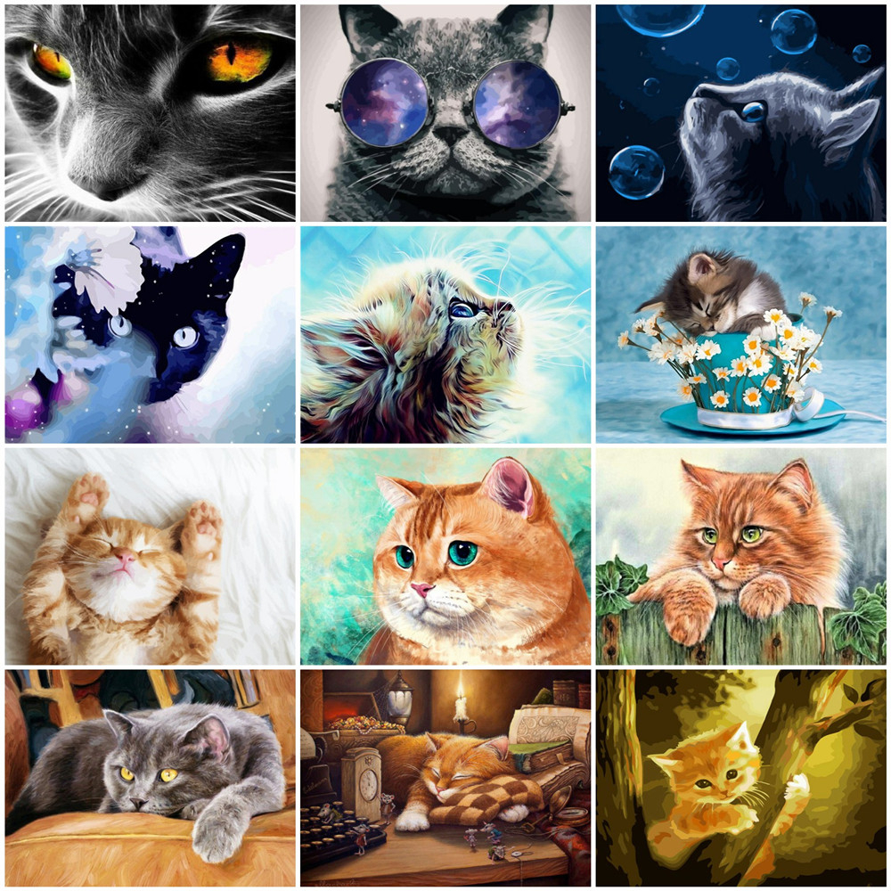 HUACAN Paint By Number Cat Animals Full Set Pictures Oil Painting By Numbers Cat Home Decoration DIY Gift
