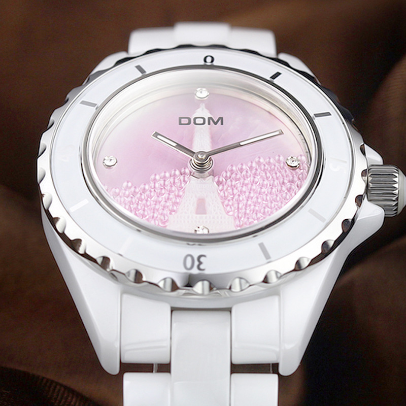 DOM Watch Ceramic Watch Diamond Set WOMEN'S Watch Night Light Waterproof Quartz Watch Women's Fortunes T-598K