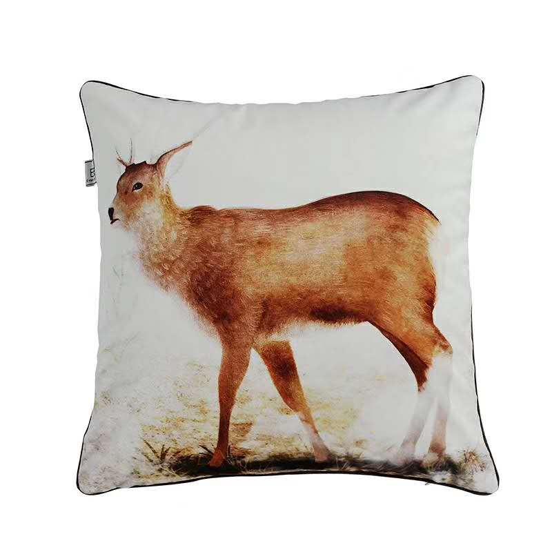 Cushion Cover for Sofa Decor Zara women Almofada Wild African Throw Velvet Pillowcase Rhinoceros Deer Wolf Lion Animals Seat in Cushion Cover from Home Garden