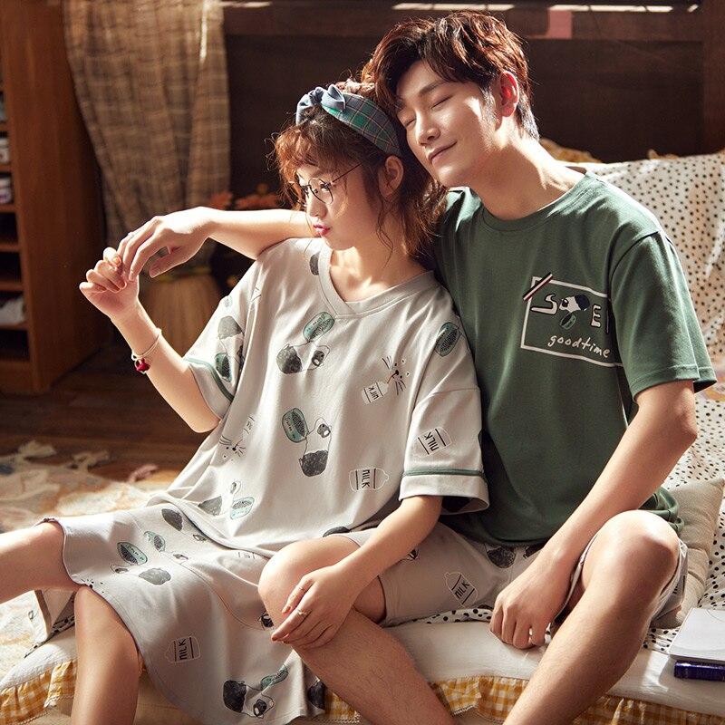 Plus Size M-3XL Couple Pajamas Set Summer Cute Cartoon Men's Pajamas Short-sleeved Ladies Night Cotton Home Service