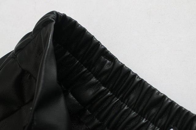 2020 New Fashion Autumn Winter Women High Waist Black Faux Leather Pants Lady PU Loose Pencil Trousers Elegant Pocket Streetwear 5