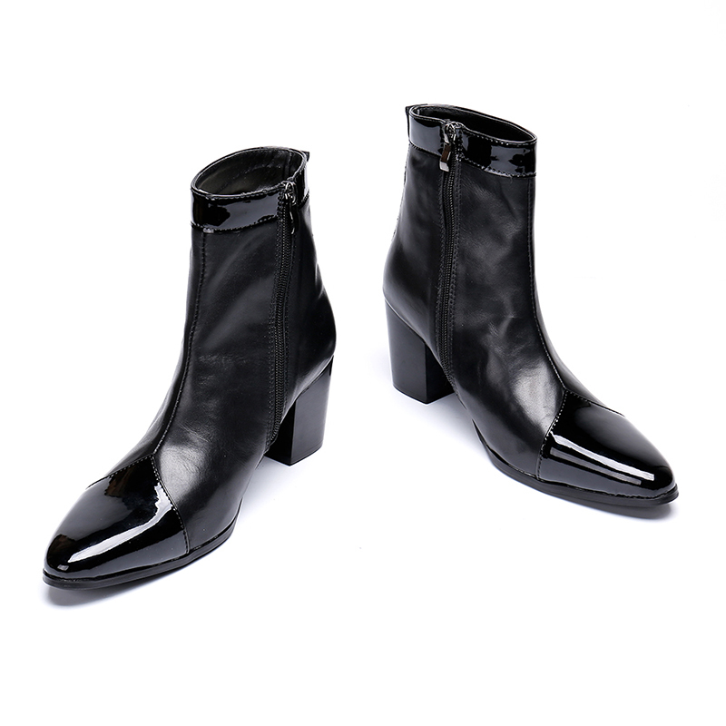 Europe America Winter Pointed-toe Zip Glossy Ankle Boots Genuine Leather High Heel Black Boots Fashion Martin Boots