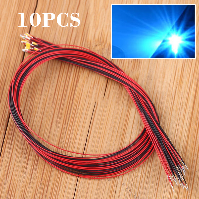 10pcs New #0402 Pre-soldered Micro Litz Wired Leads Blue SMD Led 200mm Length For DIY Small Models 2.8V-3.4V