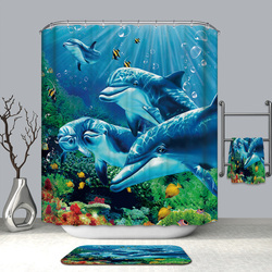 3D Colorful Underwater World Shower Curtains Dolphin Starfish Waterproof Mildew Proof Thickened Bath Curtains for Bathroom
