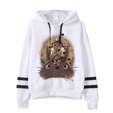 Spirited Away Totoro bluzy japoński kaptur kobiety bluza z kapturem Studio Ghibli bluza Kawaii ponadgabarytowych kreskówka kobieta Ulzzang Anime tanie tanio DAYUHU Mieszanka bawełny Swetry Drukuj Japan style REGULAR Suknem Pełna
