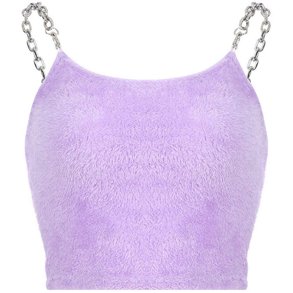 2019 seksi moda kadınlar yaz Casual kolsuz peluş camiş T-shirt kolsuz kürk Metal zincir Strappy kırpma üst mor