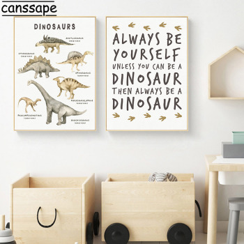 Boy Room Wall Art Print Dinosaur Canvas Painting Modular Playroom Poster Chart Educational Picture Nursery Kids Decor
