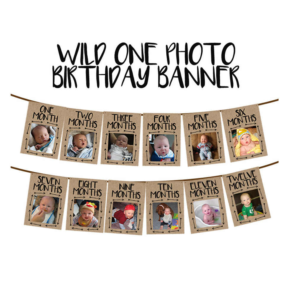Wild ONE Photo Frame Birthday Banner First Happy Birthday Decorations Garland 1st Baby Boy Girl My 1 One Year Party Supplies