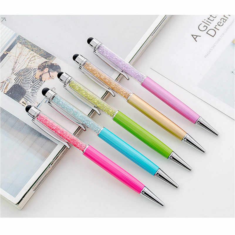 Yaratıcı 1 adet elmas kristal tükenmez kalem yağı kalem plastik nötr çok fonksiyonlu pres dokunmatik tükenmez kalem okul kırtasiye