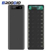 10*18650 etui na powerbank Dual USB szybko ładująca ładowarka do telefonu przechowywanie DIY Shell cyfrowy wyświetlacz 18650 uchwyt na baterię etui z funkcją ładowania