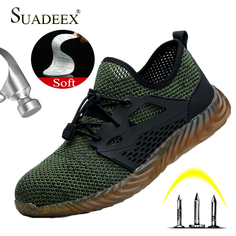 SUADEEX Men Women Work Safety Shoes Anti Smashing Steel Toe Cap Puncture Proof Work Shoes For Dropshipping