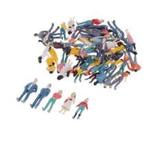 50 Set Mini People figurki 1/50 Model pociągi architektoniczne plastikowe figurki małe osoby do miniaturowych scen, 35mm wysokości
