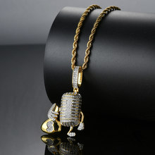 3 Colors Hip Hop AAA CZ Stone Paved Bling Iced Out Dollar Money Bag Microphone Pendants Necklace for Men Rapper Jewelry(China)
