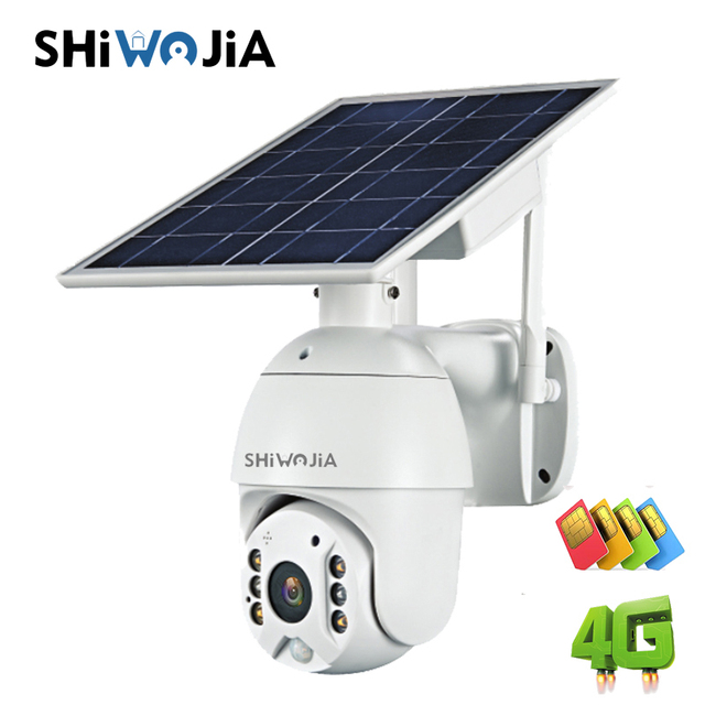 SHIWOJIA Camera 4G SIM Card 1080P HD Solar Panel Outdoor Monitoring CCTV Camera Smart Home Two-way Intrusion Alarm Long Standby 6