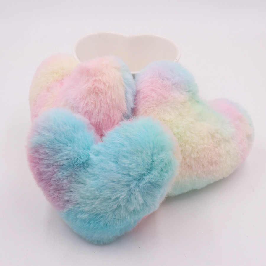 Ins Macaron piel de conejo falso corazón llavero de pompones mujer chica bolsa coches Simple llavero esponjoso joyería regalos colorido coche moda