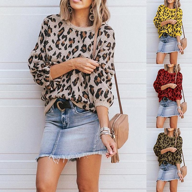 2019 Autumn Winter Sweaters female leopard print coat women sweaters and pullovers  winter clothes