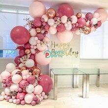 DIY Retro tozlu pembe balon Garland kemer seti gül altın beyaz balonlar doğum günü bebek duş düğün parti dekorasyon
